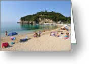 Suntan Greeting Cards - Paleokastritsa beach Greeting Card by George Atsametakis