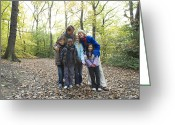 Multicultural Greeting Cards - Parents And Children In A Wood Greeting Card by Ian Boddy