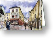 Watercolour Greeting Cards - Paris Montmartre  Greeting Card by Yuriy  Shevchuk