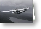 Plane Greeting Cards - Pby Catalina Vintage Flying Boat Greeting Card by Daniel Karlsson