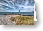 Sea Shore Digital Art Greeting Cards - Penmon Point Greeting Card by Adrian Evans