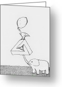 Surrealism Drawings Greeting Cards - Penrose Elephant Greeting Card by Philip Guiver
