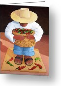 Mexican Greeting Cards - Pepper Boy Greeting Card by Lance Headlee