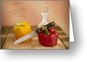 Wall Greeting Cards - 2 Peppers and Knife Greeting Card by Ian Barber