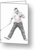 Pencil Greeting Cards - Phil Mickelson Greeting Card by Murphy Elliott