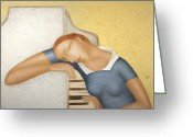 Chest Greeting Cards - Piano Greeting Card by Nicolay  Reznichenko