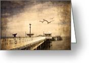 Beach Scenery Mixed Media Greeting Cards - Pier Greeting Card by Svetlana Sewell