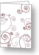 Decorative Floral Drawings Greeting Cards - Pink And Red Abstract Greeting Card by Frank Tschakert