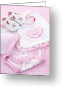Presents Greeting Cards - Pink baby clothes for infant girl Greeting Card by Elena Elisseeva