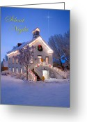Pioneer Park Greeting Cards - Pioneer Church at Christmas Time Greeting Card by Utah Images
