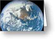Space.planet Greeting Cards - Planet Earth Viewed From Space Greeting Card by Stockbyte
