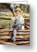 Overalls Greeting Cards - Playing Hookie Greeting Card by Nancy M Garrett