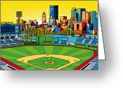 Baseball Artwork Greeting Cards - PNC Park gold sky Greeting Card by Ron Magnes