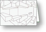 Residential Drawings Greeting Cards - 2-point Perspective Drawing Greeting Card by Gregory Dean