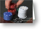Betting Greeting Cards - Poker Chips Greeting Card by Photo Researchers, Inc.