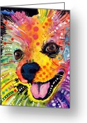 Dogs Painting Greeting Cards - Pomeranian Greeting Card by Dean Russo