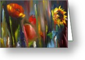 Impressionist Mixed Media Greeting Cards - Poppy and sunflower Greeting Card by Jeff Hunter