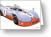 Alms Greeting Cards - porsche 908 GULF Greeting Card by Alain Jamar