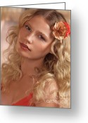 Hair-style Greeting Cards - Portrait of a Beautiful Young Woman Greeting Card by Oleksiy Maksymenko