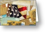 Antique Map Digital Art Greeting Cards - Postcard And Old Papers Greeting Card by Setsiri Silapasuwanchai