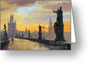 Europe Painting Greeting Cards - Prague Charles Bridge 01 Greeting Card by Yuriy  Shevchuk