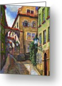 Old Street Drawings Greeting Cards - Prague Old Street Greeting Card by Yuriy  Shevchuk