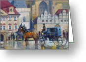 Carriage Greeting Cards - Prague Old Town Square 01 Greeting Card by Yuriy  Shevchuk