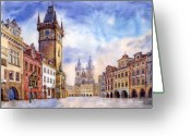 Urban Watercolour Greeting Cards - Prague Old Town Square Greeting Card by Yuriy  Shevchuk