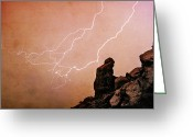 The Lightning Man Greeting Cards - Praying Monk Camelback Mountain Lightning Monsoon Storm Image TX Greeting Card by James Bo Insogna