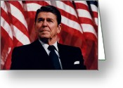 Flag Photo Greeting Cards - President Ronald Reagan Greeting Card by War Is Hell Store