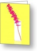 Pink Flower Branch Greeting Cards - Purple Orchid Bunch Greeting Card by Atiketta Sangasaeng