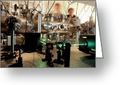 Laser Beam Greeting Cards - Quantum Entanglement Equipment Greeting Card by Volker Steger