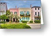 Historic Street Greeting Cards - Rainbow Row Greeting Card by Drew Castelhano
