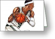 Espn Drawings Greeting Cards - Rajon Rondo Greeting Card by Dave Olsen