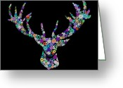 Colorful Mixed Media Greeting Cards - Reindeer Design By Snowflakes Greeting Card by Setsiri Silapasuwanchai
