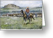 Remington Greeting Cards - Remington: Cowboy, 1888 Greeting Card by Granger