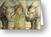 Critical Illustration Greeting Cards - 2 Rhinos and a Smoking Camel - Cartoon Greeting Card by Peter Art Prints Posters Gallery