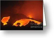 Environmental Damage Greeting Cards - River of molten lava flowing to the sea Greeting Card by Sami Sarkis