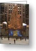 Exterior Buildings Greeting Cards - Rockefeller Center And The Famous Greeting Card by Taylor S. Kennedy