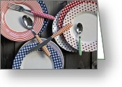 Checkered Greeting Cards - Rural Plates Greeting Card by Joana Kruse