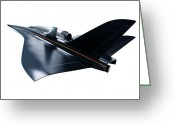 Future Tech Greeting Cards - Saenger Horus Spaceplane, Artwork Greeting Card by Detlev Van Ravenswaay