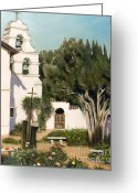 San Juan Bautista Greeting Cards - San Juan Bautista Mission Greeting Card by Lorna Saiki