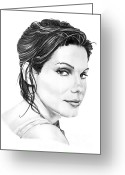 (murphy Elliott) Drawings Greeting Cards - Sandra Bullock Greeting Card by Murphy Elliott