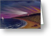 Waves Pastels Greeting Cards - Sankaty Head Lighthouse Nantucket Greeting Card by Charles Harden