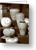 Merchandise Photo Greeting Cards - Santa Fe - Pottery Greeting Card by Frank Romeo