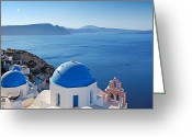 Thira Photo Greeting Cards - Santorini - Greece Greeting Card by Constantinos Iliopoulos