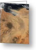 Arid Country Greeting Cards - Satellite View Of A Dust Storm Greeting Card by Stocktrek Images