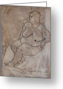 Figure Drawing Greeting Cards - Seated female nude Greeting Card by Joanne Claxton