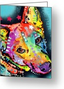 Pitbull Greeting Cards - Shep Greeting Card by Dean Russo