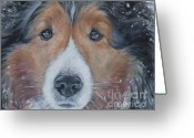 Sheepdog Greeting Cards - Shetland Sheepdog Greeting Card by Lee Ann Shepard